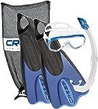 Cressi Elastic Short Bag Set Set Pinne Corte, Maschera e Snorkel per Nuoto e Snorkeling, Unisex – Adulto, Nero/Blu, M/L - 41/44