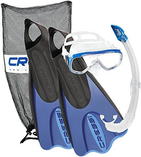 Cressi Elastic Short Bag Set da Snorkeling, Maschera, Pinne e Boccaglio, Nero/Blu, 35/38 - Colorata Tessuto Blu