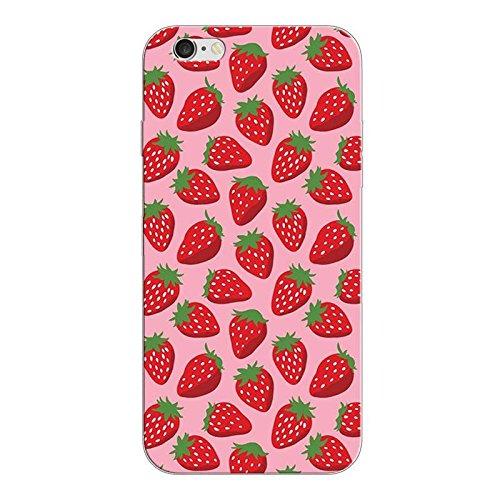 iPhone 5 5S SE Handyhülle Schutzhülle Hülle Silikon Cover Case Ultra Dünn Slim 4.0 TPU Erdbeeren 2