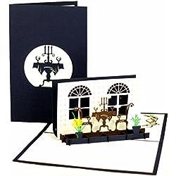 """Pop Up Karte """"Candlelight Dinner"""", Einladung ins Restaurant, Essensgutschein, Geschenkgutschein Gastro, Gutschein Kochen, Geburtstagskarte, Valentinstag, Geldgeschenk"""