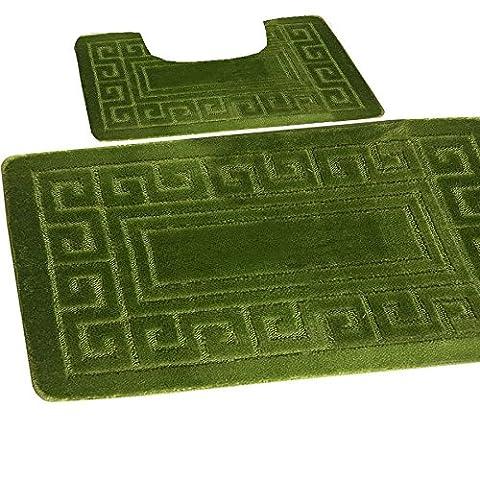 Bath mat set 2 pc non slip rubber pedestal mat toilet bathroom greek rug new (Fern) by Gaveno Cavailia