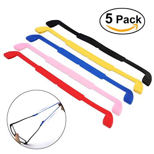 NUOLUX Brillenband,Eyewear Strap Brillenband,Anti-Rutsch elastische Silikon Kopfband Gurt 5 Farben