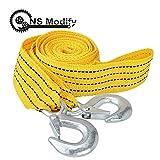 AoforzBrand 4M 3 tonnellate Cavo di Traino per Auto Nylon Corda per imbragature Heavy Duty Towing Pull Rope Cavo di Traino con Ganci ad Alta Resistenza Tow Rope