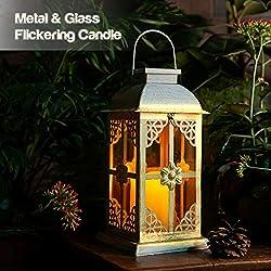Solar Laterne für außen - mit hell flackernder LED Kerze - Tisch- und Hängelampe - in- und outdoor - extra Metall Laterne im Antik-Stil - Solar Laterne weiß mit Glasfenstern - wetterfest - 14x14x28cm