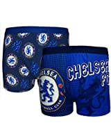 Chelsea FC Official Football Gift 2 PAIR Pk Mens Crest Boxer Shorts