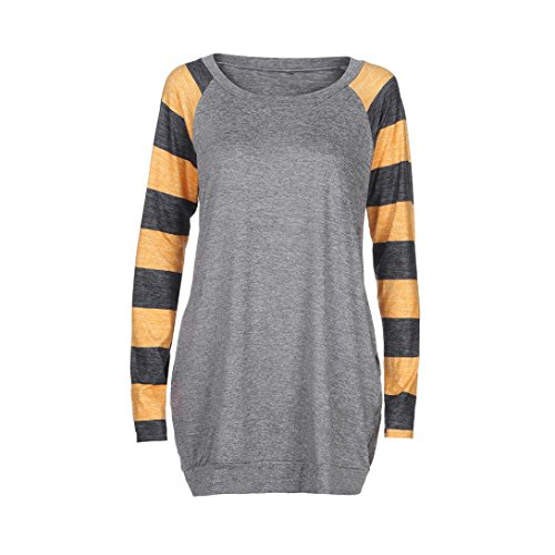 Camicetta Donna,Kword Camicetta A Maniche Lunghe Donna Felpa Donna Casual T-Shirt Sciolto Camicetta Elegant Grigio