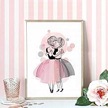 Affiches et affiches de pépinière Aquarelle Peinture sur toile Images murales pour Bébé fille Giclee Décoration murale Pas de cadre PTCG001-XL