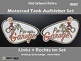 Motorrad Tankaufkleber Set Pin Up Garage Old School Bobber Cafe Racer Retro Tank