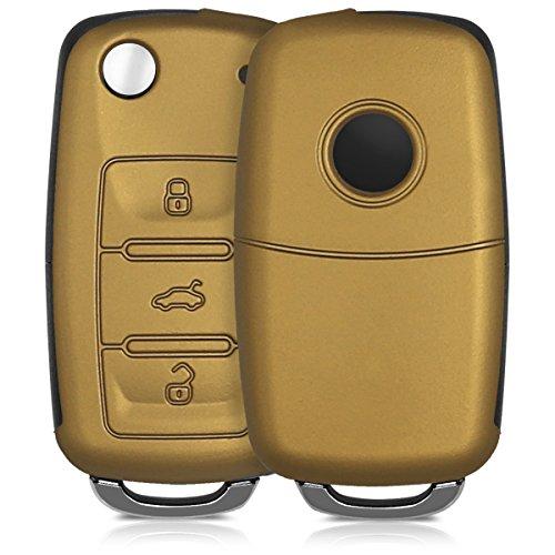 kwmobile Accessoire clé de Voiture pour VW Skoda Seat - Coque pour Clef de Voiture VW Skoda Seat 3-Bouton en Silicone métallique doré - Étui de Protection Souple