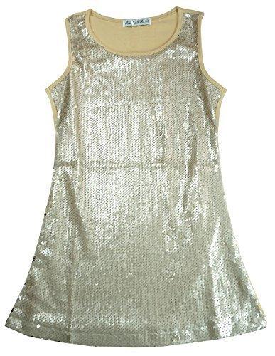 Spitze metallisch Glitzer Party Disco Ärmelloses Kleid Größen von 3 bis 12 Jahre - Gold, 14 (11-12 Years) (Mädchen Disco Kleid)