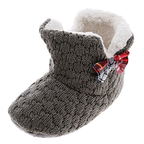 Phenovo Newborn Toddler Baby Knit Snow Booties Soft Warm Bowknot Boots Crib Shoes