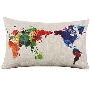 Palabra mapa bordado decorativo lino fundas de almohada de sofá funda para cojín funda de almohada 30* 50cm
