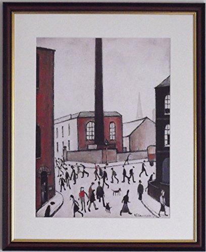 L S Lowry Spezialität Print/Bild-City Szene-auf einem Leinen Struktur Medium, Walnut Finish Frame With Soft White Mount And Large Image, 20 x 16inch -
