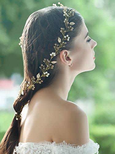 handcess Hochzeit Blätter Stirnband Gold Brautschmuck Haarschmuck Vine für Braut und Brautjungfern (27,6In/70cm)