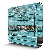 BANJADO Edelstahl Briefkasten mit Zeitungsfach, Design Motivbriefkasten, Briefkasten 38x43,5x12,5cm groß Motiv Blaue Holzlatten