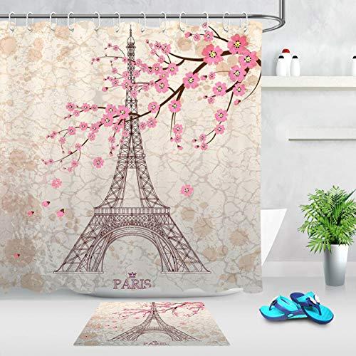 ZZ7379SL Paris Eiffelturm Pink Sakura Stoff Duschvorhang Set Badezimmer Matte Strap / 12 Haken 180 * 180 cm (Badezimmer-set Sakura)