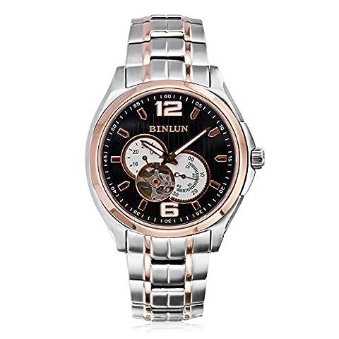 Binlun Men's Black Dial Rose Gold Casual Stainless Steel Self Winding Mechnical Chrono Illuminous Watch