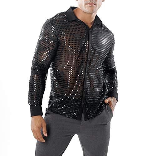 utton Down Rüschen Shirt Tanz Fantasy T Shirt Party Nachtclubs Kostüm Top (Schwarz, M) ()