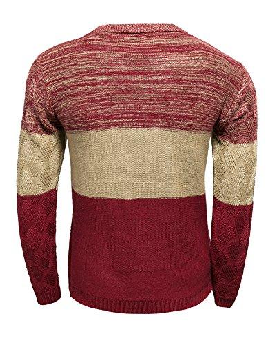 BOMOVO Herren Strickpullover Pullover Rundhalskragen Slim Fit Spleiß Sweatshirt Rot