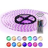 Simfonio® Tiras LED 5050 RGB - 5m de longitud - 300 LEDs - Multicolor - Control remoto de 44 botones y fuente de alimentación [Clase de eficiencia energética A]