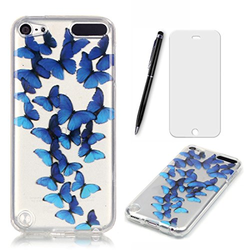Preisvergleich Produktbild Lotuslnn iPod Touch 5G/6G Hülle, iPod Touch 5 Case TPU Silikon Transparent Schutzhülle Tasche Housse (Hülle+ Stylus Pen + Tempered Glass)-blauer Schmetterling