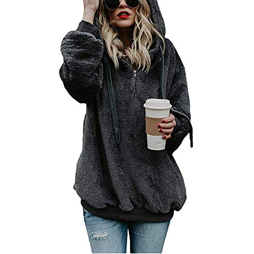 SEWORLD Women Hooded Sweatshirt Coat Winter Warm Wool Zipper Pockets Cotton Coat Outwear