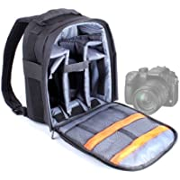 DURAGADGET High Quality DSLR Camera Backpack with Adjustable Padded Interior for Panasonic DMC-FZ72 EB-K Lumix Camera - Black (16.1MP, Super Telephoto 60x Optical Zoom, 20mm Ultra Wide Angle Lens)
