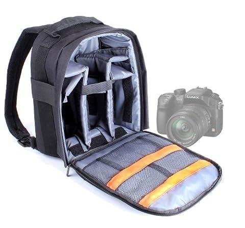 Sac à dos noir résistant à l'eau pour Panasonic DMC-FZ200, DMC-GH3, DMC G5 & Lumix G6 appareils photos SLR / reflex - compartiments modulables