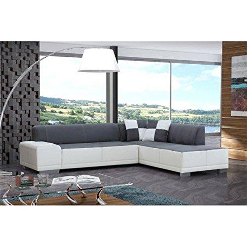 Canapé d'angle 5 places gris et blanc Fortuna microfibre et simili cuir