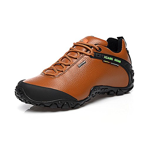 Xiang Guan Femme Low-top Lace-up Cuir Imperméable Outdoor Sport Chaussures de Camping Randonnée Trail Trekking Sneaker Marron