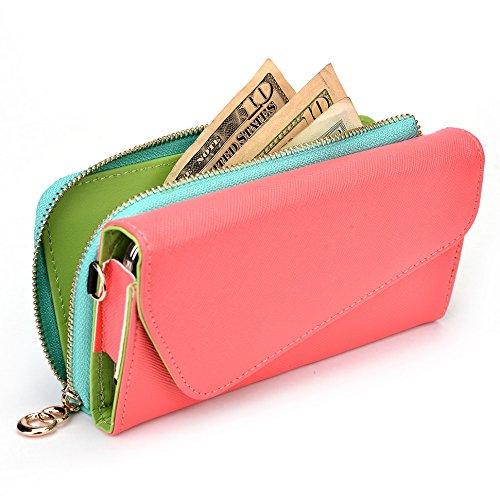 Kroo d'embrayage portefeuille avec dragonne et sangle bandoulière pour LG G3dual-lte Noir/gris Rouge/vert