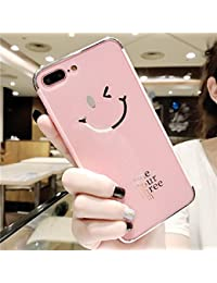 Miroir Coque pour iPhone 7/8 ,ETSUE iPhone 7/8 Effet or Miroir Housse Etui Technologie de Galvanoplastie Pliable TPU Souple Bumper Case Rose Or Slim Fit Clear View Mirror Cover Paillette Brillant Plaqué Métal Luxe Cristal Clair Coque en Miroir Elegant Cool Bling Briller Diamant Plume Motif Asourire nti-Scratch Soft Gel Coque Miroir de Peinture 2 in 1 Absorption de Choc Bumper et Anti-Scratch Coque Pour iPhone 8 & iPhone 7 + 1xBleu stylet-Miroir * Hello Rosa