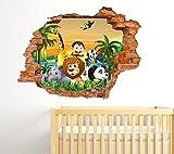 Adesivi Murali Bambini effetto Buco nel muro 3D Decorativo Cameretta Bambini Fantasy Animali della savana Foresta e tramonto sul mare Adesivo Murale Disegni decorativi Wall Stickers decorativo Adesivi Murali Decorazione Cameretta Nursery Carta da parati Stickerdesign Made in italy