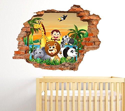 Adesivi murali bambini effetto buco nel muro 3d decorativo cameretta bambini fantasy animali - Adesivi per muro cameretta ...