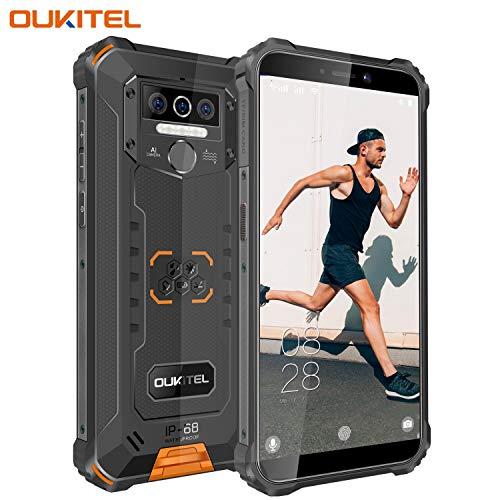 OUKITEL WP5 (2020) Outdoor Handy, 4G Dual SIM Smartphone Ohne Vertrag,IP68 wasserdichter,8000mAh Robustes Handy, 4GB 32GB Android 9.0 Global Version 5,5 Zoll Triple Kamera Face/Fingerprint ID -Orange