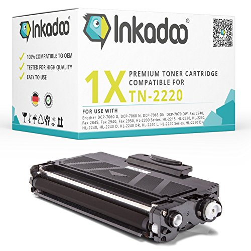 Inkadoo Toner kompatibel für Brother DCP 7065dn, Fax 2840, Fax 2940, HL 2240, HL 2250dn, MFC 7460dn ersetzt TN2220 - Premium Drucker-Kartusche- Schwarz – 2.600 Seiten