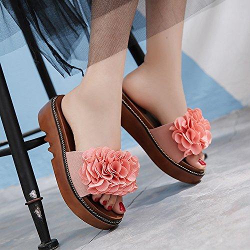 Estate Sandali Pantofole femminili di modo estivo Pantofole spesse Sandali esterne femminili per 18-40 anni Colore / formato facoltativo Rosa