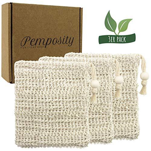 Sisal Seifensäckchen Natur von Pemposity - Bio Seifenbeutel - Naturschwamm plastikfrei - Körper-Peeling - Öko Seifennetz für Seifen und Seifenreste [3er Set]