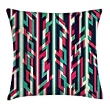 RAINNY Modern Decor Throw Pillow Cushion Cover, Chevron Geometric Design Zig Zag Stripe Dark Blue Background, Decorative Square Accent Pillow Case, 18 X 18 inches, Magenta Jade Green and White