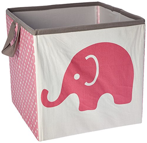 bacati elefantes diseño de cesta, color rosa/gris, pequeña