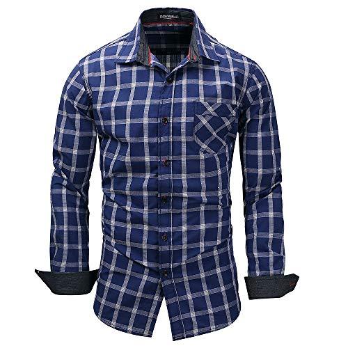 Mens Fashion Gitter Stripe Cuffed Sleeve Shirts (Farbe : Blau, Größe : XL) -