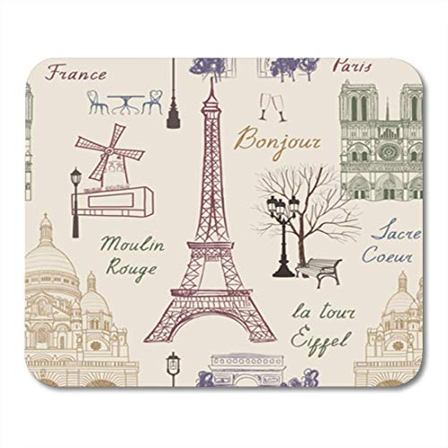 """HOTNING Gaming Mauspads, Gaming Mouse Pad Travel Paris Seamless Pattern Vacation in Europe Wallpaper to Visit 11.8""""x 9.8"""" Decor Office Nonslip Rubber Backing Mousepad Mouse Mat"""