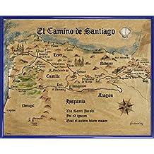 Camino De Santiago De Compostela Póster Impresión Artística con Marco (Plástico) - El Camino De Santiago Anno 1445, Jon Mellenthin (50 x 40cm)