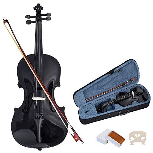 Violinen Geigen Set 4/4 Koffer + Bogen + Zubehör Kolofonium aus Holz für Anfänger (Schwarz)