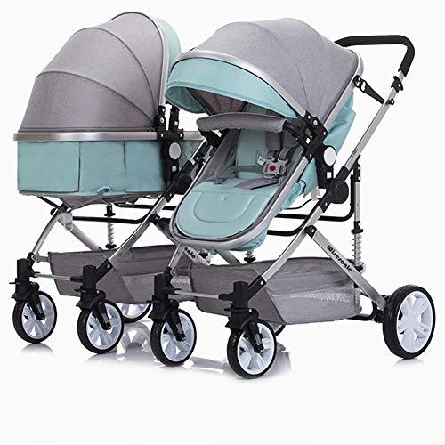 AWL-J Zwillings-Kinderwagen können stützenden Schlag sitzen, der Wagen-hohen Landschaftsspaziergänger faltet,Green