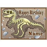 Decoración para tarta de dinosaurio personalizable para perro ND2 (tamaño A4 (o más pequeño
