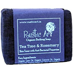 Rustic Art Organic Tea Tree and Rosemary Soap, 100g