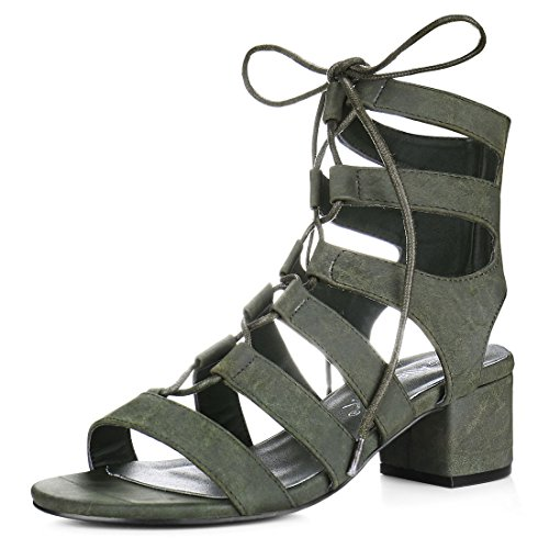 5 B(M) US , Khaki Green : Allegra K Women's Open Toe Cutout Chunky Heel Lace-Up Sandals