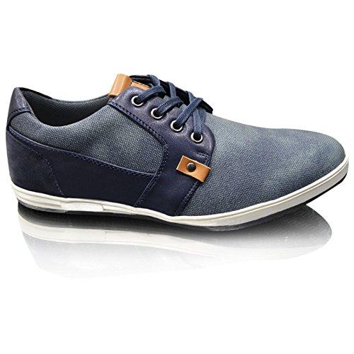 Herren Neue Leder Gefüttert Lässig Elegant Schnürschuhe UK Size 6-11 Blau