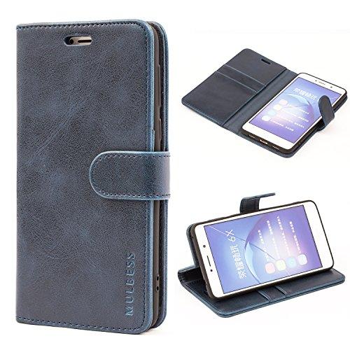 Mulbess Handyhülle für Honor 6X Hülle, Leder Flip Case Schutzhülle für Huawei Honor 6X / Honor 6X Pro Tasche, Dunkel Blau